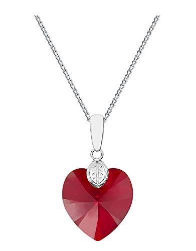 Crystals&Stones - Cuore con catena in argento 925, 18 mm, con ciondolo originale Swarovski Elements, collana con custodia, ideale come regalo per moglie o fidanzata