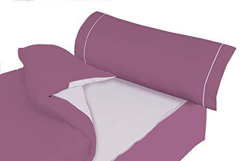 Montse Interiors S.L. - Saco Nórdico Color Lila y Malva Liso, Modelo Ribet L, para Cama de 80x190/200