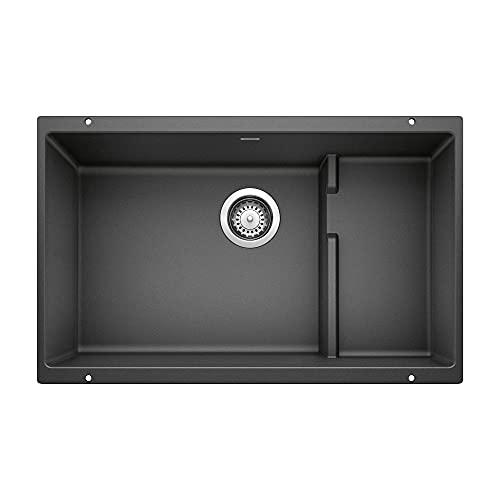 BLANCO, Anthracite 519450 PRECIS CASCADE SILGRANIT Undermount Kitchen Sink with Colander