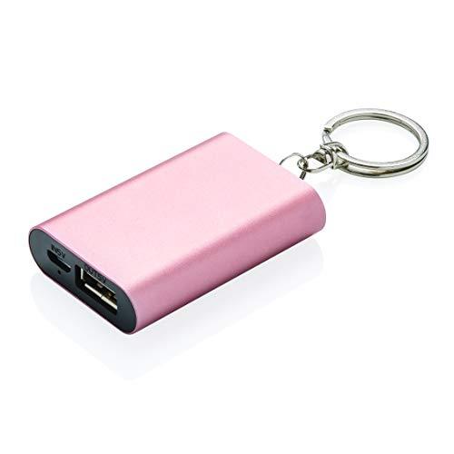 LOOOQS Schlüsselanhänger Power Bank 1000mAh rosa