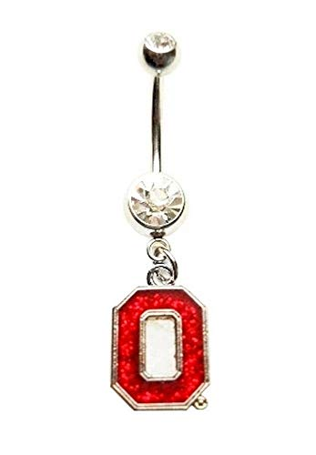 OSU OHIO STATE UNIVERSITY BUCKEYES GLITTER SPARKLES Navel Belly Button Ring Body Jewelry Piercing