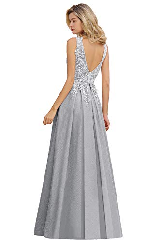 MisShow Ballkleid Elegant Abendkleider V Ausschnitt Festlich Spitzen Brautjungfernkleid Hochzeitskleider Maxilang Silber 32