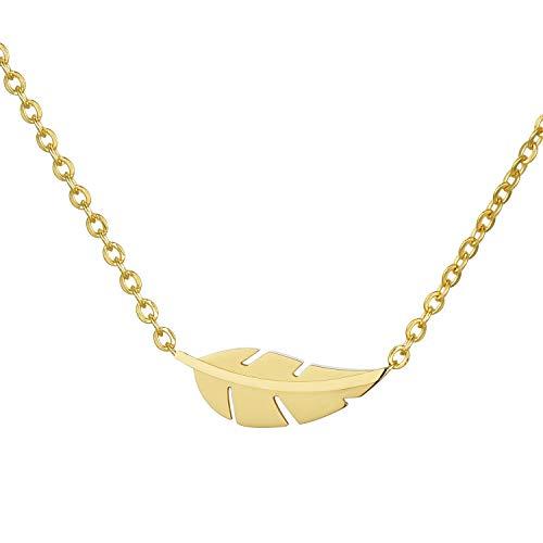Morella Collar Mujeres con Colgante de Acero Inoxidable Oro en Bolsa de Terciopelo