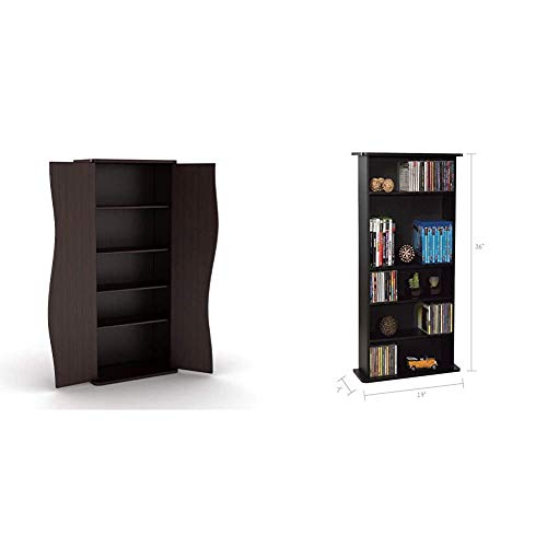 Atlantic Venus Media Storage Cabinet - Stylish Multimedia Storage Cabinet & Drawbridge Media Storage Cabinet - Store & Organize A Mix of Media 240Cds, 108DVDs Or 132 Blue-Ray/Video Games