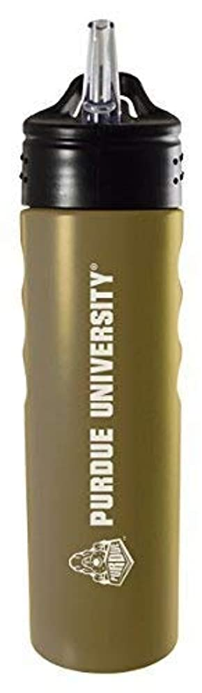 Purdue University-24oz. Stainless Steel Grip Water Bottle with Straw-Gold