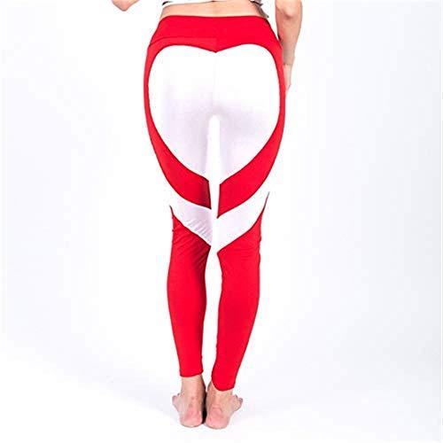 NoBrand TEYUN Pantalon de Yoga for Femmes Pantalons Slim Sport, Pilates, Crossfit, Stretching, Freeletics séchage Rapide, Caleçon Sport, colorblocking Respirant (Color : Red White, Size : L)