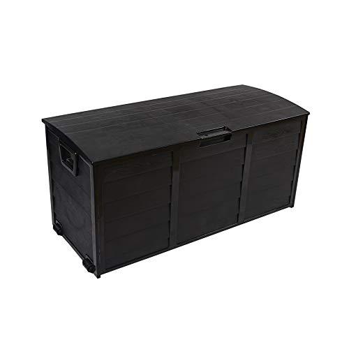 Rebecca Mobili Auflagenbox Kissenbox Schwarz Aufbewahrungstruhe 290 L Plastik Mehrzweck Werkzeuge Aufbewahrung Spiele - 54x112x49 cm (H x B x T) - Art. RE6333