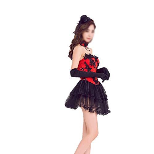 QINQI El Traje De Esmoquin De La Conejita De La Mascarada del Vestido Rojo NavideñO Es Adecuado para La Ropa De Fiesta En El Bar (Vestido + Guantes + Cuello + Sombrero)