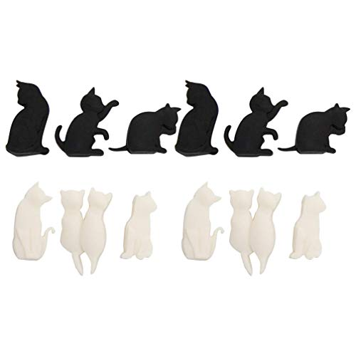 PRETYZOOM, 12 marcatori in silicone a forma di gatto, per bicchieri da vino, da cocktail