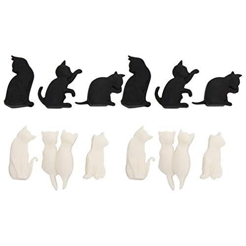 PRETYZOOM Pennarelli per Bicchieri da Vino in Silicone Cat Drink Charms di Identificazione per Festa di Nozze Bar Club Cup Cup Sign 12Pcs (Colore Misto)
