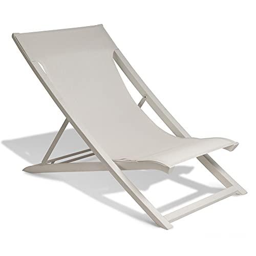 Ondis24 Alu Faltliege Sunset, Aluminium Strandliege, Liegestuhl 3 Positionen verstellbar, Gartenstuhl XL-Format, Sonnenliege Stoffbezug, Strandstuhl Gartenliege (Grau-Beige)