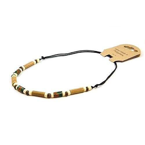 FJ286 - The Olivia Collection Collier de Perles de Bambou sur Corde Noire Ajustable