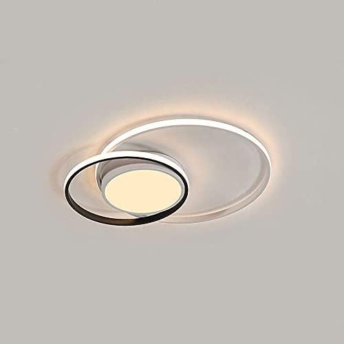 LPFWSK Diseño de bucle creativo Luz de techo ultrafina Montaje empotrado Accesorios de iluminación para dormitorio Luz de techo redonda ajustable 3000K-6000K Lámparas de ahorro de energía de estilo si