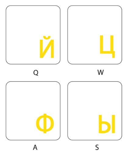 Online-Welcome Russian Keyboard Stickers with Transparent Background with Yellow Lettering for Computer LAPTOPS Desktop