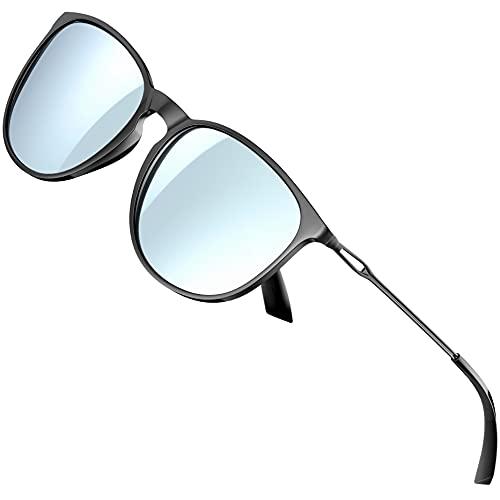 ATTCL Gafas de sol para mujer - Ultralight Driving Polarizadas Round Womens sunglass UV400 Protección, plateado (Negro+Plateado/Espejado), Medium