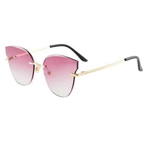 SHUHUI Moda Ojo De Gato Gafas De Sol Mujer Gradiente Lente Océano Gafas De Sol Señoras Retro Metal Tonos Mujer
