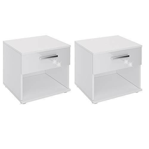 CARO-Möbel Nachttisch Mary im 2er Set Nachtschrank Nachtkommode in Hochglanz weiß mit Schublade und offenem Fach