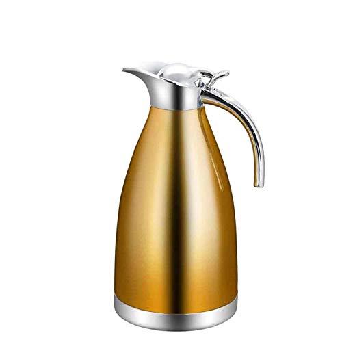 Generic Edelstahl-Isolierflasche Edelstahl Isolierkanne Thermoskanne Doppelschicht @ Champagne Gold_2.0 Liter/Doppelisolierung