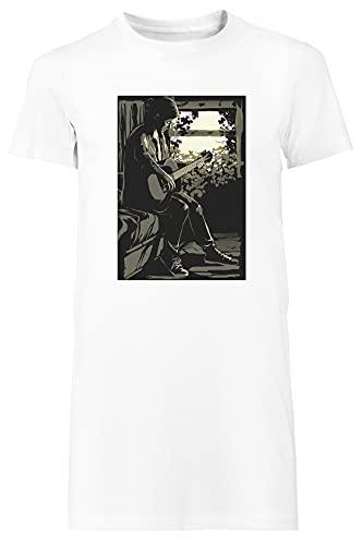 Ellie Camiseta Mujer Largo Vestir Blanco T-Shirt Women's Long Dress White