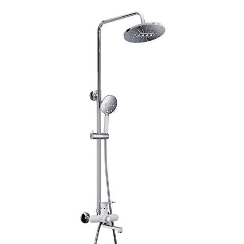 Juego de grifos de ducha expuestos, cabezal de ducha tipo lluvia con ducha de mano, sistema de ducha tipo lluvia de latón montado en la pared, grifo de ducha mezclador