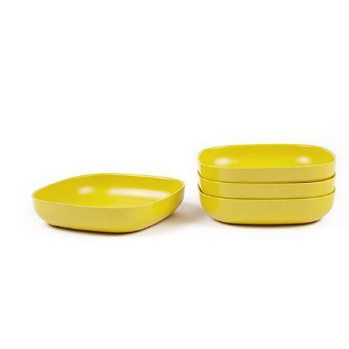 EKOBO Gusto Pastateller Set Gelb (Lemon), 4-teilig, Bambus-Faser/Melamin Teller, spülmaschinenfest, Pastateller 4er Set, Bambus Geschirr, Tiefe Pasta Teller gelb, gelbe Teller