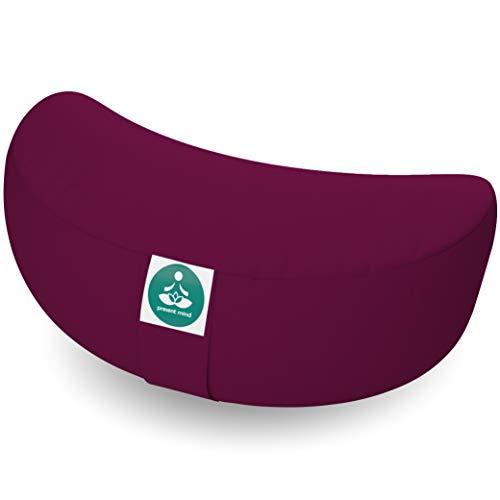 Present Mind Cuscino Meditazione a Mezzaluna (Altezza 15 cm) - Colore: Borgogna - Cuscino Zafu Yoga Alto/Cuscino Yoga - Prodotto nell'UE - Fodera Lavabile - Cuscino Yoga Meditazione Naturale