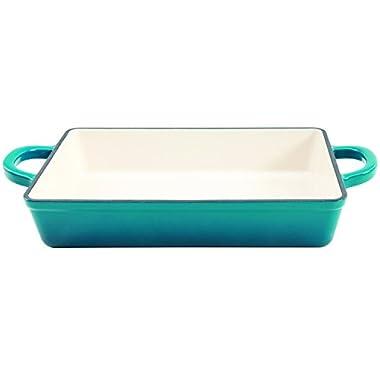 Crock Pot Artisan Enameled Cast Iron 13-Inch Lasagna Pan, Teal Ombre