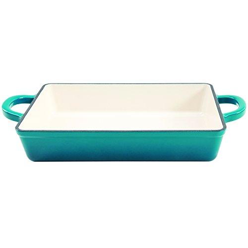 Crock Pot 112008.01 Artisan 13 Inch Enameled Cast Iron Lasagna Pan, Teal Ombre