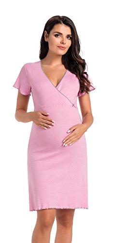 Di Vadini Alessia - Camicia da notte premaman e da allattamento, manica corta, 100% cotone viola. M