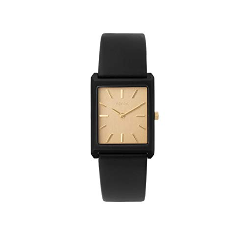 BREDA Virgil 1736c Black Square Wrist Watch with Genuine Leather Band, 26MM