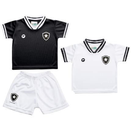Kit 2 Camisetas e Shorts Botafogo (0 a 3 meses, Preta)
