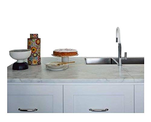EZ FAUX DECOR Instant Kitchen Countertop Backspalsh Update Grey White Marble Granite Self-Adhesive Peel and Stick Thick Waterproof 36