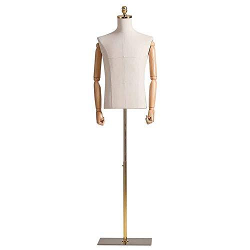 LXLA Maniqui Costura Cuerpo del Torso del maniquí Masculino Ajustable, maniquí de Sastre de plástico Crema, maniquí de Forma de Vestido con Brazo de Madera, Dedo y Soporte de Metal