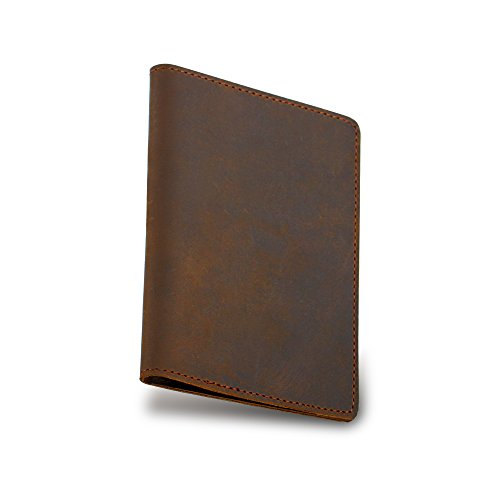 Magic Vosom Handmade Leather Passport Cover - Holder - with 2 Card Slots - Passport Case Brown