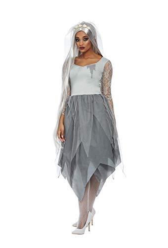 Smiffys Grave Yard Bride Costume Disfraz de novia para tumbas, color gris, M-UK Size 12-14 (63018M)