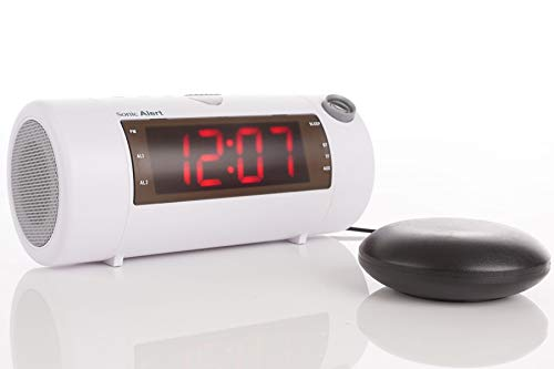Sonic Alert Sonic Blast Super Loud Projection Alarm Clock with Bluetooth Speaker & Sonic Bomb Super Shaker White - SB700WSS | High Definition Projector Time Display | Wake On-Time