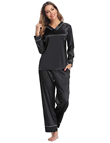 Hawiton Damen Schlafanzug Lang Satin Pyjama Nachtwäsche Sleepwear V Ausschnitt (Uni-Schwarz, Small)