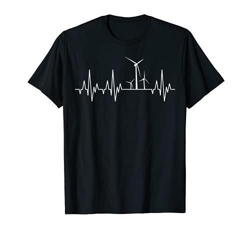 Windenergie Windkraft Windrad Windkraftanlage Herzschlag EKG T-Shirt