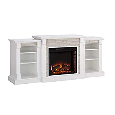 Southern Enterprises Gallatin Simulated Stone Electric fireplace, White