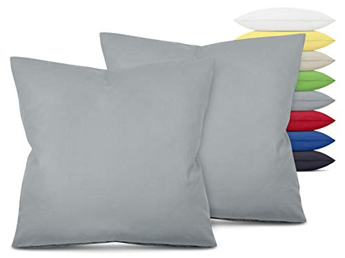 Unifarbene Kissenbezüge im Doppelpack - in 8 Farben und 3 Größen - Moderne Wohndekoration in dezentem Design, ca. 80 x 80 cm, hellgrau