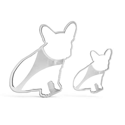 3DREAMS 2er Ausstecher Set French Bulldog │ Frenchy Ausstechform │ Keksausstecher Französische Bulldogge Hund │ Ausstechformen Bully │ Cookie Cutter Geschenk