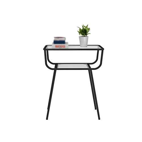 KangJZ-bijzettafeltje, glazen salontafel, dubbele laag, bureau, slaapkamer, woonkamer, bijzettafel, kamer, boekenrek, gemakkelijk te verplaatsen groot