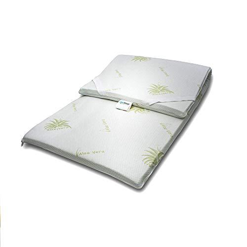TOPPER 100% Puro Lattice Naturale Correttore per Materasso o Sovramaterasso, ecologico e sfoderabile con Tessuto Aloe Vera singolo 80x190