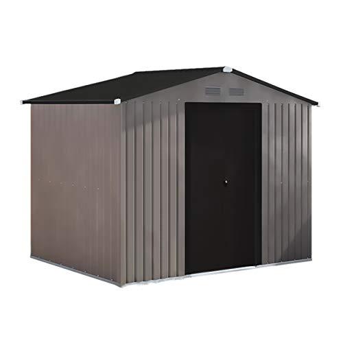 8' x 6' Metal Storage Shed with Peak Style Roof, Steel Storage Shed with Floor Base Kit, Lockable Doors, Brown