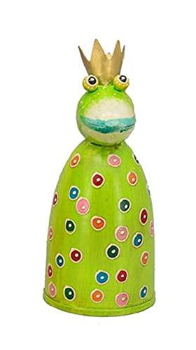 Gartendeko Figuren aus Metall Modern | Ausgefallene Lustige Gartenfigur | Zaunhocker Tiere | Zaunfigur | Pfostenhocker | Gartendekoration | Dekofigur | Frosch König Grün