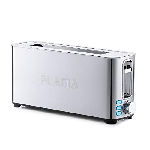 Flama Tostadora 966FL, 1050W, Inox, 1 Ranura Larga, Termostato com 6 posiciones, Bandeja Recoge Migajas, Funciones de Descongelación y Recalentamiento