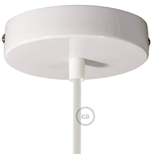 creative cables Zylindrischer Lampenbaldachin Kit aus Metall - Konisch, Glänzend weiß