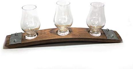 Premium Barrel Stave Whiskey Flight Scotch Flight Bourbon Flight Crystal Glencairn Glass Flight product image