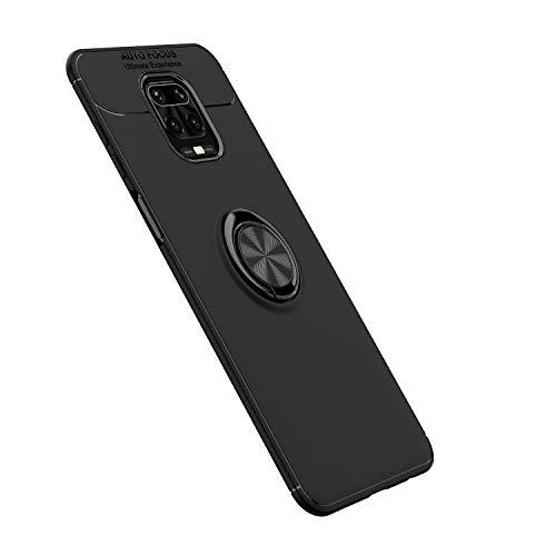 Dedux Silicone Morbido Cover per Xiaomi Redmi Note 9S/9 PRO/9 PRO Max, Ultra Sottile Custodia Magnetica per Auto con 360 Rotante Supporto per Anello. Nero + Nero