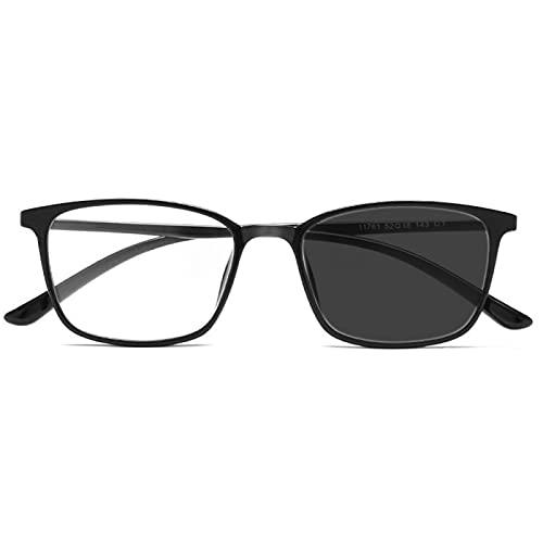 DDZHE Gafas de transición fotocromáticas, gafas de lectura bifocales, gafas de sol ligeras, presbicia contra la fatiga visual, +1,00